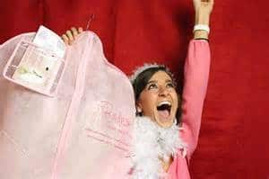 Happy Bride with an Affordable Designer Wedding Dress from Brides Against Breast Cancer