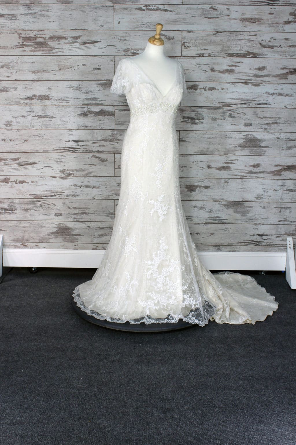 Casablanca Sheer Illusion Lace Wedding Dress Size